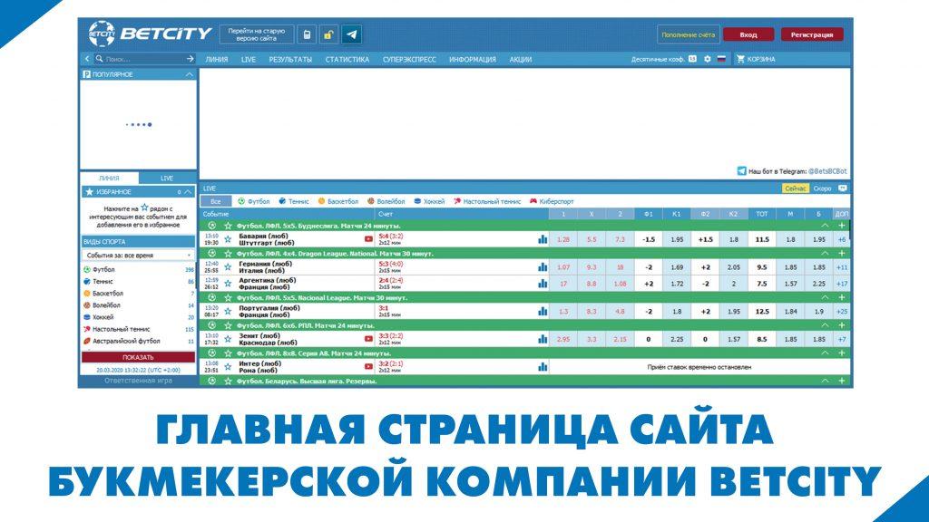 Изображена главная страница сайта букмекерской компании Betcity
