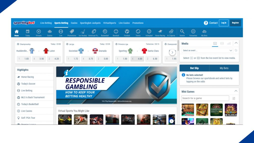 Главная страница сайта букмекерской компании Sportingbet