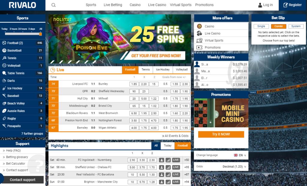 Официальный сайт зарубежной букмекерской конторы Rivalo