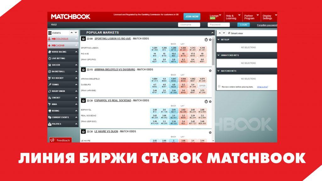 Линия биржи ставок Matchbook